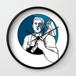 Trade Unionist With Hammer Drawing Wall Clock