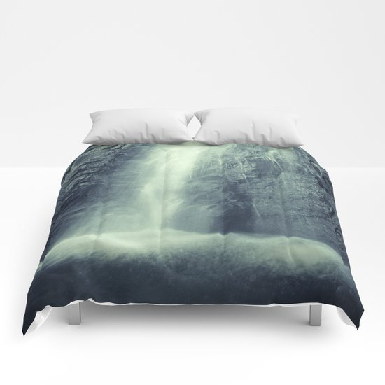 """""""Waterfall at the mountains"""". Retro series Comforters"""