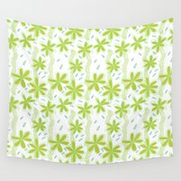 amelie Wall Tapestries featuring Flowers for Amelie Pattern  by A Creative Need