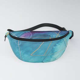 Galaxy Series [1]: an abstract mixed media piece in blue, purple, white, and gold Fanny Pack