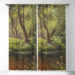 River and Summer Flowers along the forest path flora and fauna oil on canvas river landscape painting by René Charles Edmond His Blackout Curtain