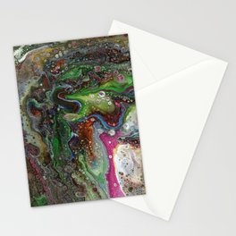Fluid Acrylic VI - Original, abstract, textured fluid pour painting Stationery Cards