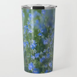 blue flowers. Germander Speedwell. Travel Mug