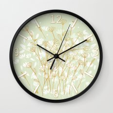 Coockie brown clover on green  Wall Clock