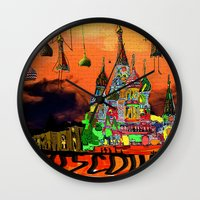 moscow Wall Clocks featuring Moscow  by sladja