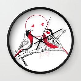 Loving red black birds Wall Clock