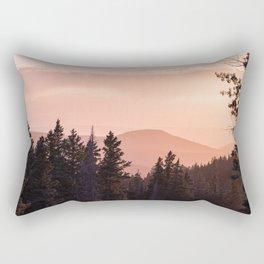 Mountain Forest Sunset - Adventure Begins Rectangular Pillow