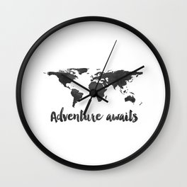Printable Adventure Awaits World Map Poster, Navy Travel Quote Print, JPG File, Instant Download Wall Clock