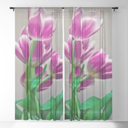 Pink Tulips Sheer Curtain