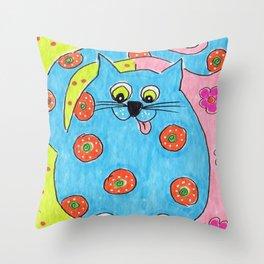 Blue Fat cat Throw Pillow