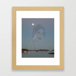 haunting image of girl on twilight tranquil Canadian bay  Framed Art Print