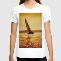 sailboat T-shirts featuring single sailboat by laika in cosmos