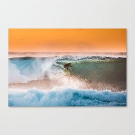 Sunset surfing in Hawaii Canvas Print