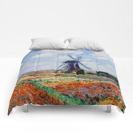 Claude Monet Tulip Field In Holland Comforters