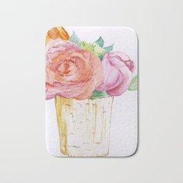 Peach Rose And Pink Tulip In Vase Watercolor Bath Mat