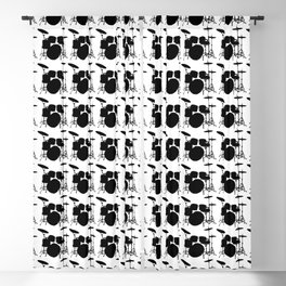 Drumset Pattern (Black on White) Blackout Curtain