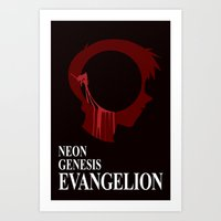 evangelion Art Prints featuring EVANGELION by Nick Dauphin