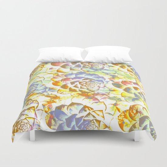 pastel succulent Duvet Cover
