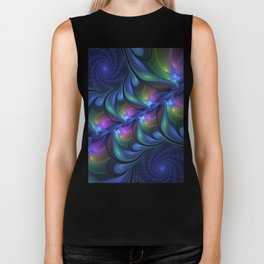 Colorful Luminous Abstract Blue Pink Green Fractal Biker Tank