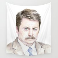 parks Wall Tapestries featuring Swanson Watercolor Ron by Olechka