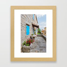 Town of Hum old cobbled street view Framed Art Print