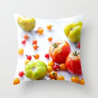 tennessee Throw Pillows featuring Tennessee Tomatoes by Lindsay Landis