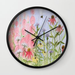 Botanical Floral Watercolor Pink Blue Yellow Flowers Blue Skies Wall Clock