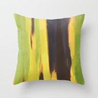 banana leaf Throw Pillows featuring Burnt Banana Leaf by Robert Morris
