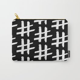 White Hashtags Carry-All Pouch