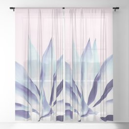 Solar Agave - Pastel blue on pink Sheer Curtain