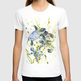 Turtle Baby Sea Turtles, underwater scene olive green, green indigo blue children T-shirt