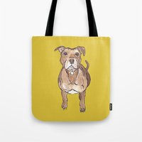 pitbull Tote Bags featuring Pitbull by Tammy Kushnir