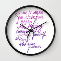 love quotes Wall Clocks featuring Love quotes by Ioana Avram