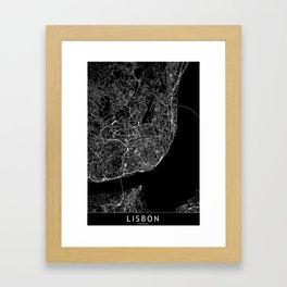 Lisbon Black Map Framed Art Print