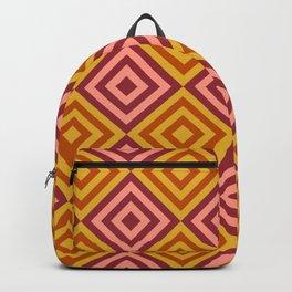 Orange & Pink Geometric Diamonds Digital Pattern Backpack