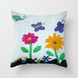 Butterflies and spring flowers bubble art Throw Pillow