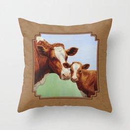 Guernsey Cow and Cute Calf Throw Pillow