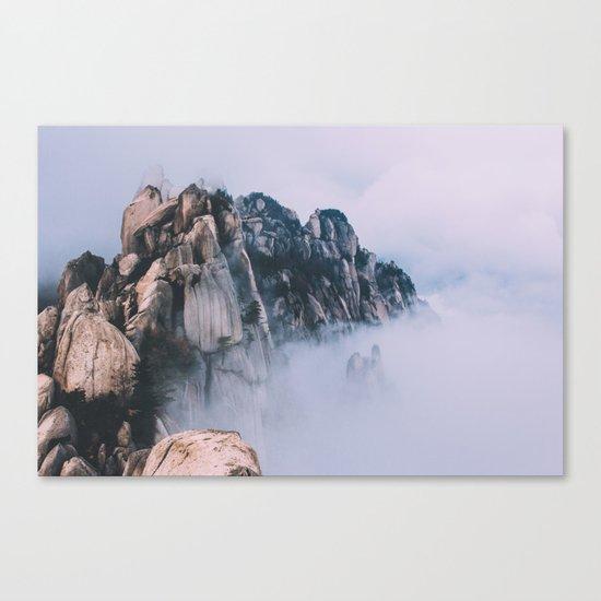 Mountains #fog #society6 Canvas Print