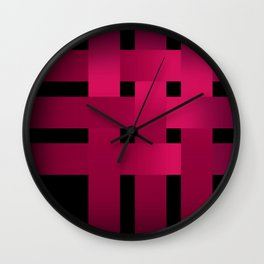 Satin red ribbons on black . Wall Clock