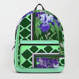 JADE GREEN PURPLE IRIS GARDEN PATTERN DESIGN Backpack
