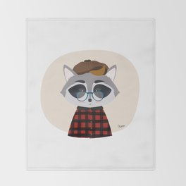 Hipster Raccoon Throw Blanket