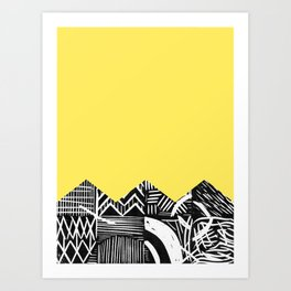 Lemon lino bright Art Print