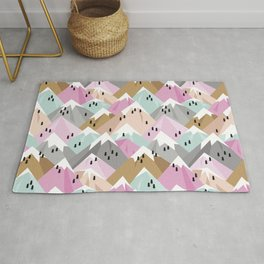 Alpine mountains winter climbing peaks snow pink Rug