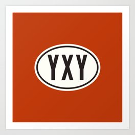 Whitehorse Yukon Canada YXY • Oval Car Sticker Design with Airport Code • Brick Red Art Print