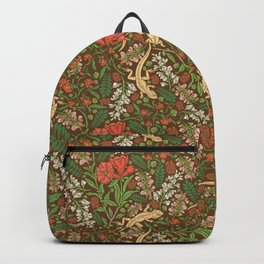 Beige lizard among pomegranate flowers and acacia false on brown background Backpack