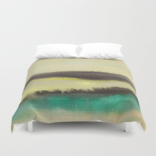 Watercolor abstract landscape 02 Duvet Cover