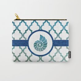 Seashell: Tropical Water Moroccan Pattern Carry-All Pouch