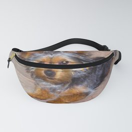 Silky Terrier Puppy - rendered as watercolor Fanny Pack