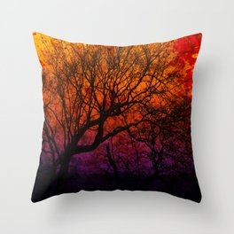 Ever After, Trees Silhouette Sunset Throw Pillow