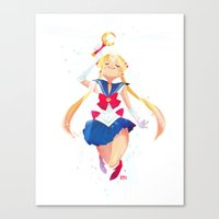 sailor moon Canvas Prints featuring Sailor Moon by Ellen Su